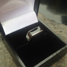 Whitby jet and sterling silver signet ring