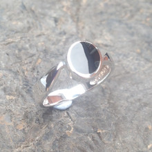sterling silver ring with whitby jet oval stone