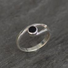 Asymmetrical Sterling silver split shoulder Whitby Jet circular stone ring