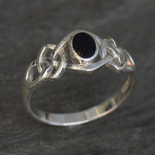 Classic Celtic sterling silver and Whitby Jet ring