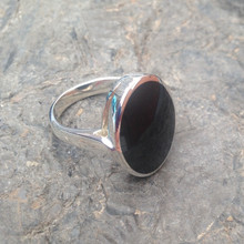 large oval whitby jet and sterling silver ring