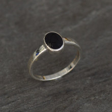 Ladies classic slim sterling silver ring with oval Whitby Jet stone