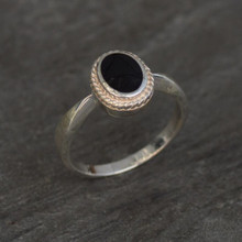 Ladies sterling silver rope edge ring with oval Whitby Jet stone