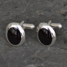 Hand crafted sterling silver T bar cufflinks with oval curved cushion edged Whitby Jet stones