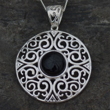Large round sterling silver fret work Whitby Jet pendant