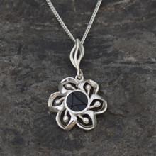 Round Whitby jet flower pendant