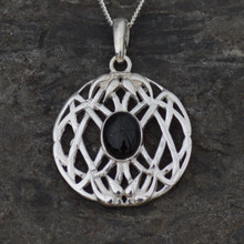 Round Whitby Jet and sterling silver weave cabochon pendant