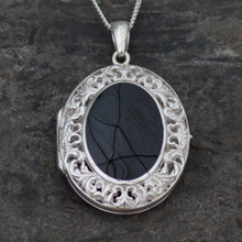 Large fancy filigree sterling silver and Whitby Jet locket pendant
