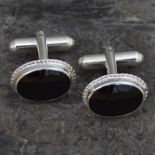 925 Sterling silver cufflinks with oval rope edged Whitby Jet stones and swivel bar fastenings