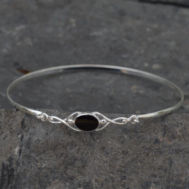 Handcrafted 925 silver Celtic Whitby jet bangle