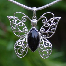 Large Filigree Whitby Jet and sterling silver butterfly Cabochon Pendant