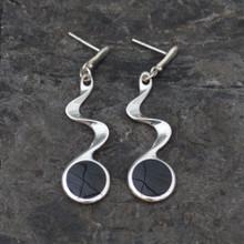 Jet twist earrings, handmade in whitby