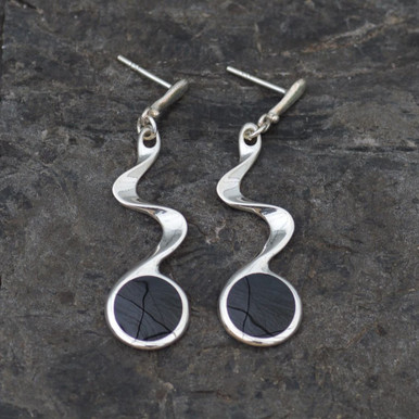 Jet twist earrings, handmade in whitby