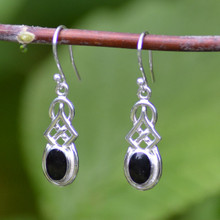 Whitby jet Celtic drop earrings