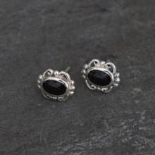 Whitby Jet Oval Stud Earrings 015CS