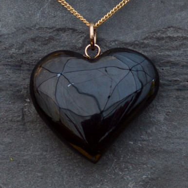Hand carved Whitby Jet Heart Pendant