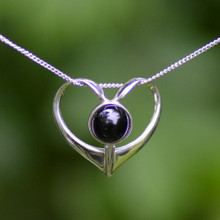 Contemporary sterling silver heart necklace with round Whitby Jet cabochon