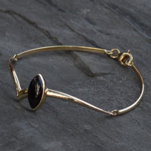 Contemporary Whitby Jet 9ct Gold bracelet with marquise cut stone