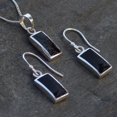 Whitby Jet Pendant and earring set