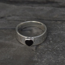 Sterling silver wide band ring with Whitby Jet love heart stone