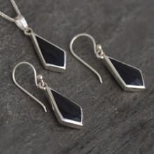 Whitby Jet Kite Pendant and Earrings Set 025S