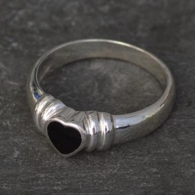 Whitby Jet heart ring