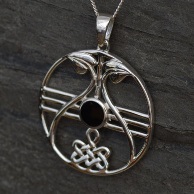 Large sterling silver round Celtic Whitby Jet pendant featuring Eternity Knot