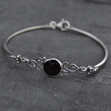whitby jet and sterling silver bangle