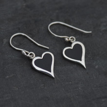 Whitby jet heart earrings