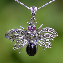 Large Whitby Jet sterling silver Swiss Marcasite moth pendant
