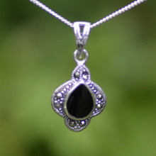Marcasite Whitby jet pendant