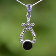 Whitby Jet and Swiss Marcasite sterling silver wishbone necklace