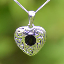 Classic textured Whitby Jet and sterling silver scroll pendant