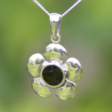 Large Whitby jet flower pendant