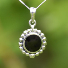 Round sterling silver Whitby Jet beaded pendant