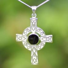Large sterling silver Celtic Whitby Jet cross pendant