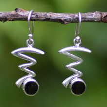 Contemporary sterling silver zig zag drop earrings with Whitby jet