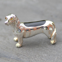 Whitby Jet and Sterling Silver Dachshund Figurine