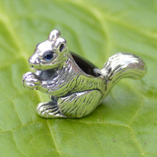 Whitby Jet and Sterling Silver Squirrel Figurine