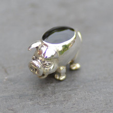 Whitby Jet and Sterling Silver Pig Figurine