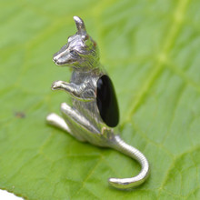 Whitby Jet and Sterling Silver Kangaroo Figurine