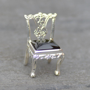 Whitby Jet and Silver Chair Figurine