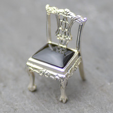 Whitby Jet and 925 Silver Collectable Chair