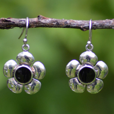 Whitby jet flower earrings