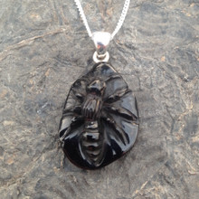 Unique Hand carved Whitby Jet bee pendant on sterling silver chain