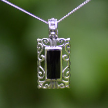 Hand crafted Whitby Jet and sterling silver oblong filigree pendant