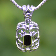Large Whitby Jet Filigree Pendant 417P