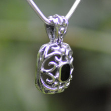 Large Whitby jet filigree pendant