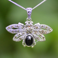 Sterling silver bee necklace with Whitby Jet and Marcasite