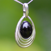 Contemporary Whitby Jet and sterling silver cabochon pendant